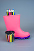 Out, And A Boot (jah32) Tags: colour color colours colors colourful pink cmwdpinkorpurple cmwdpurpleorpink pencilcrayons pencils colouredpencils boots boot