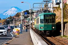Enoshima Electric Railway 100 type train on Shichirigahama in Kamakura (Dakiny) Tags: 2018 winter january japan kanagawa kamakuira shichirigaham shonan coast city street railway enoshimaelectricrailway enoden train electrictrain nikon d750 nikonclubit