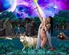 Goddess Artemis (Davien Orion) Tags: greekgod greekgoddess greekmythology greek greektemple temple ruins goddess artemis archer wolf moon warrior huntress bear night woman model explore deviantart photomanipulation photoshopelements com composite flowers grecian bow arrow