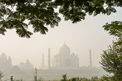View of Taj Mahal in early morning fog (phuong.sg@gmail.com) Tags: agra architecture asia asian attraction building dawn destination dome dusk early fog foggy haze heritage historical india indian landmark mahal marble mausoleum minaret mist misty monument morning mughal palace polluted pollution pradesh site sunrise taj tomb tourist travel unesco uttar white world