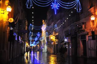Blue night street