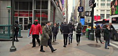 One Foot At a Time (Robert S. Photography) Tags: street scene walking sidewalk vehicles traffic busy hustle bustle city life newyork nyc manhattan spring crowd signs sony color dscwx150 iso100 april 2018