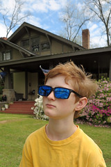 yardglassesclouds (FAIRFIELDFAMILY) Tags: arts crafts bungalow craftsman architecture porch sunglasses sky azaleas solo star wars movie poster bike bicycle riding stone granite flowers yard winnsboro sc south carolina fairfield county cool pretty house home face portrait backyard pecan tree child boy young old jason taylor carson grant