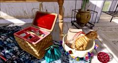 ...the sewing box... (lindini2) Tags: secondlife sl plaaka l2studio lhooq cat soy basket