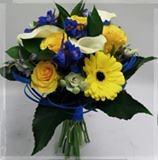 Springtime Tied (Flowers by Moonstones - Fareham Florist) Tags: bridalbouquet weddingbouquet weddingflowers bridal wedding flowersbymoonstones moonstones flowers florist fareham farehamflorist freshflower calla lily white blue yellow gerbera delphinium princessanne royal
