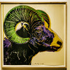 Warhol's Bighorn Ram (Thad Zajdowicz) Tags: zajdowicz palmsprings california usa travel canon eos 5d3 5dmarkiii dslr digital lightroom availablelight ef24105mmf4lisusm andywarhol art screenprint bighornram endangeredspecies palmspringsartmuseum museum indoor inside color animal colour green yellow purple illustration