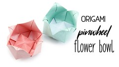 Origami Pinwheel Flower Bowl Tutorial - Paper Kawaii (paperkawaii) Tags: origami instructions paperkawaii papercraft diy how video youtube tutorial