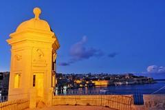 Senglea Point Sunset (Douguerreotype) Tags: blue dark malta water sunset cityscape lights architecture city valletta night tower fort
