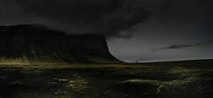 Dverghamrar Headland (p.g604) Tags: 20180421imgp1278 iceland southern region dverghamrar headland headlights vehicle mountains grass horizon clouds overcast blue green pentax k1 black sand riverbed