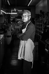 Shopkeep, San Francisco (Greg Parish) Tags: sanfrancisco 2018 street blackandwhite bw photography chinatown smallbusiness streetshot streetphotography sanfran california socal