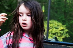 Mady on the Trampoline (pete4ducks) Tags: on1pics raw beaverton oregon mady madelyn 2017 spring outdoors outside sextonmountain portrait kid girl child green pink grey 500views