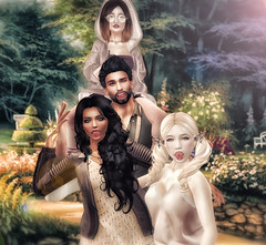 The Lyric family is finally back together! (ZameNezrulain (:Etherion:)) Tags: family mesh bento photo photography photoshop art edit parents daughters portrait secondlife second life sl digital virtual avatars people park garden group friends friendship catwa maitreya signature