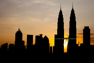 Kuala Lumpur Cityscape at Sunrise. (Silhouette)