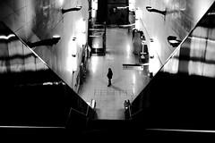 Downstairs (pascalcolin1) Tags: paris13 homme man escaliers stairs down downstairs enbas métro subway lumières lights reflets reflection lignes lines photoderue streetview urbanarte noiretblanc blackandwhite photopascalcolin 50mm canon50mm canon