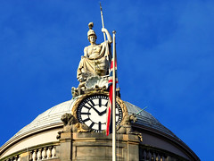Atop City Hall, Liverpool, England (teresue) Tags: 2017 england uk unitedkingdom greatbritain liverpool merseyside publicclock cityhall castlestreet watersteet britannia