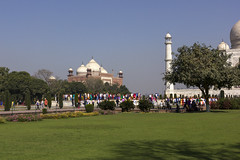 Mosque, Crowd,Green Grass (Mike Legend) Tags: india agra taj mahal mosque