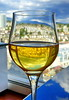 Cheers! (peggyhr) Tags: peggyhr wine wineglass urban window mountains refraction dsc09715a vancouver clouds sky reflections city trees northshore level1pfr groupecharlie01 groupecharlie02