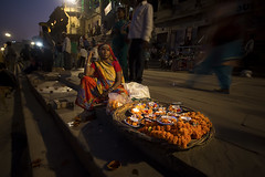 Flower Vendor At Gath of Varanasi (Harshal Orawala) Tags: flowers lights varanasi india harshalorawala clicked some gath while devdiwali flower vendor at