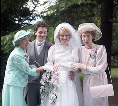 Showing off the wedding ring (vintage ladies) Tags: wedding 80s 80swedding pike kettering 3181985 bride we weddingdress brideandgroom groom