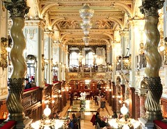 Beautiful cafe in Budapest (kyriakides_e) Tags: new york cafe newyorkcafe interior design rich gold golden pilars red carpet tourism sight sony a5100