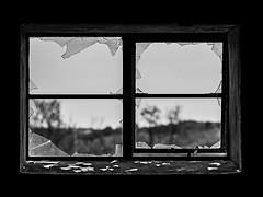 Mindless Vandalism (fstop186) Tags: vandalism broken window glass mindless neglect abandoned building blackandwhite bw black white contrast gloomy dark