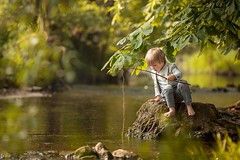 Fishing (agirygula) Tags: fishing time water green creek spring summer boy 4yearsold child childhood childhoodmemories fish moments afternoon goldenhour warm barefoot