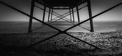 Xxxxx (Matthew Johnson1) Tags: april family lincolnshire seaside skegness pier beachlandscape beach coast town sand geometric below frame structure architecture old bw blackandwhite fog white minimalist minimalism