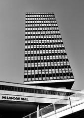 IMG_7400 (Kathi Huidobro) Tags: windows facade highrise londonwall urbanscene urbanism concrete brutalistarchitecture brutalism blackwhite bw monochrome london officeblock architecture