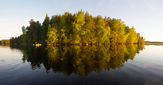 Sunset panorama from moving boat