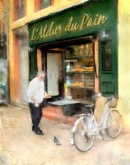 L'Atelier du Pain (sbox) Tags: painterly france toulouse bakery boulangerie bicycle pigeons bread baguette textures street shops sbox declanod