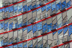 Red and Blue (Leipzig_trifft_Wien) Tags: berlin deutschland de architecture detail window glass facade reflection againandagain repetitive repetition color colour line curve geometry pattern structure