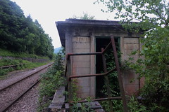 P1080693.    Railway Hut at Deepcar station.   May 2018 (dave_attrill) Tags: deepcar station remains hut concrete gangershut platform singletrack sheffield southyorkshire greatcentral gc gcr electrified mainline disused passenger goods beeching cuts report sheffieldtomanchester woodhead woodheadroute closed stocksbridge branch donvalley works closed1970 may 2018 railway sheffieldvictoria 1954 1970 1981 wortley oxspring class76 class26 penistone