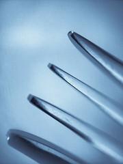 Tines (Thad Zajdowicz) Tags: macro lines tines fork abstract zajdowicz pasadena california monochrome blue color usa creativecommons samsung