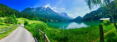 Panorama of Hintersteiner See in Tyrol, Austria (UweBKK (α 77 on )) Tags: panorama landscape scenic scenery landschaft lake hintersteiner see path road mountains alps tress forest tirol tyrol österreich austria europe europa iphone