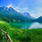 Panorama of Hintersteiner See in Tyrol, Austria thumbnail