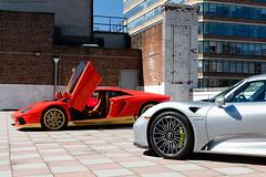 Lamborghini Aventador Miura and Porsche 918 (Jeff_B.) Tags: cars manhattan newyork nyc newyorkcity automobile exotic exotics auto car carphotography supercar rooftop photoshoot media mediaevent porsche 918 lamborghini aventador lamob miura avetadormiura 50