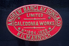 LWR Andrew Barclay saddle tank builder's plate. 2nd April 2018. (Pam & Bryan) Tags: lincolnshire steamlocomotive lwr andrewbarclay saddletank buildersplate