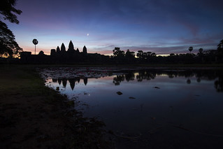 Sunrise at the Angkor Wat temple in Siem Reap, Cambodia