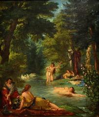 Delacroix / Les Baigneuses / 1854 - 5/8 (Pantchoa) Tags: delacroix peintre exposition louvre 2018 peintures tableaux baigneuses tableau femmes nues eau bain cygnes arbres nature fleurs baignade