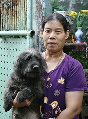 lady with one of her many dogs (the foreign photographer - ฝรั่งถ่) Tags: lady holding black dog khlong thanon portraits bangkhen bangkok thailand canon