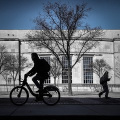 Bike or Walk (tim.perdue) Tags: bike walk ohio state university campus osu mershon auditorium street candid silhouette bicycle cyclist pedestrian walking man woman person figure tree building blue sky columbus urban city