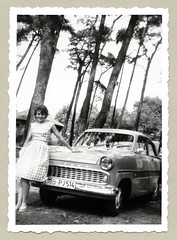 "Ford Taunus 12M (Vintage Cars & People) Tags: vintage classic black white ""blackwhite"" sw photo foto photography automobile car cars motor ford taunus taunus12m weltkugel fordtaunus streifentaunus fordp1 twotone economic miracle wirtschaftswunder 1950s fifties vehicle antique auto lady woman dress fashion"