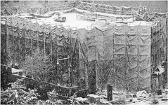 Construction Site in the Snow - Fort Greene, Brooklyn, NYC (TravelsWithDan) Tags: nyc bw newyorkcity blackandwhite brooklyn fortgreene construction weather snowfall blizzard building constructionequipment urban snow city canong3x ngc