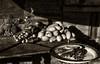Madagascar - Le repas du pêcheur (Gilles Daligand) Tags: madagascar naturemorte legumes assiette table cuisine sepia monochrome sony nex5n