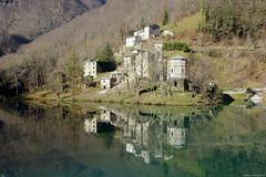 Isola Santa - Riflessi (Darea62) Tags: village reflections tuscany lake river isolasanta careggine garfagnana toscana borgo nature trees houses water dam sigma