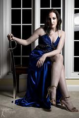 Wonder Women - Kathleen (4) (FightGuy Photography) Tags: wonderwomen sword blade weapon heels bench windows brunette bluedress beautiful fightguyphotography baltimoreknifesword