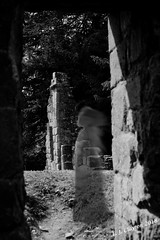 The Abbey Ghost... (Laurie's Lens) Tags: history ruins henryviii civilwar ghost figure myth legend supernatural preturnatural lilleshall abbey girl blackwhite bw outdoors manipulations