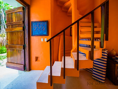 orange staircase by joe marquez hasselblad x1d 21mm tulum mexico -1082044 (The Smoking Camera) Tags: hasselblad x1d xcd 21mm wide angle lens interior architecture orange blue stair staircase tulum mexico thesmokingcamera stairsentry house casa door medium format
