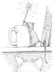 TheWand (Alex Hiam) Tags: magic wand adventure mouse cat illustration drawing childrens book