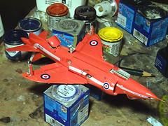 "1:72 Hawker Siddeley ""Harrier"" GR.1, aircraft ""XV 764"" of the ""Red Arrows"" Royal Air Force Aerobatic Team, summer 1980 (Whif/Fujimi kit) - WiP (dizzyfugu) Tags: 172 hawker siddeley harrier gr1 jump jet red arrows areobatic team display uk british royal air force der eighties 80s whif whatif model kit modellbau fujimi dizzyfugu fictional aviation"